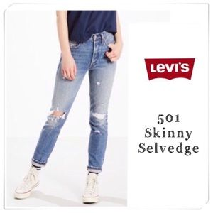 Levi's 501 High Rise Skinny Selvedge Oak Jeans